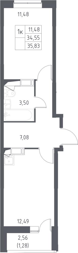 1-к.кв, 37.11 м²