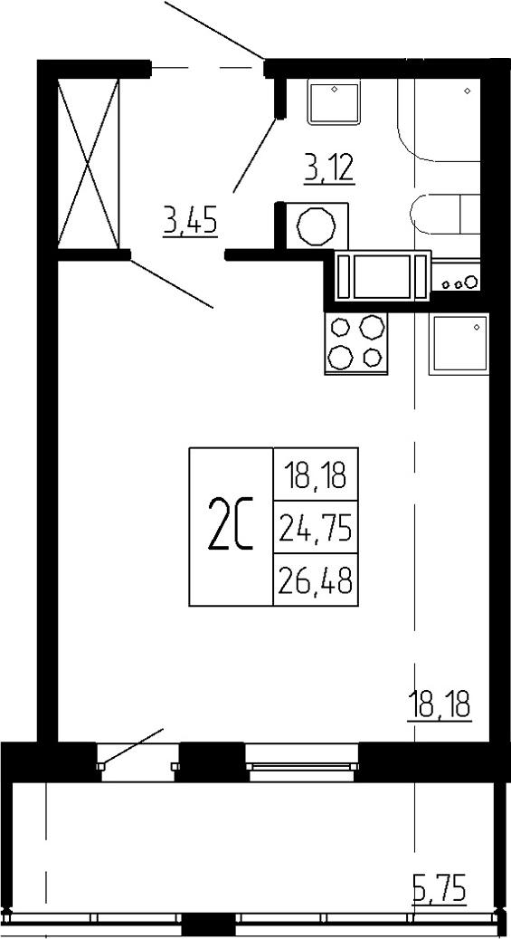 Студия, 24.75 м², 9 этаж