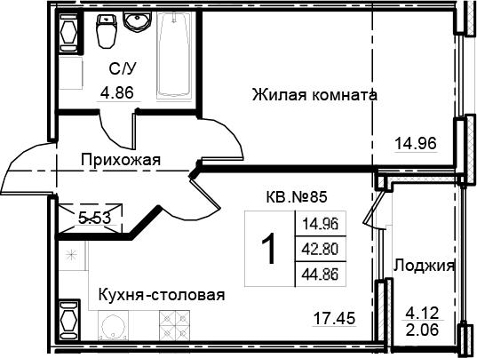 2Е-к.кв, 44.86 м², 12 этаж
