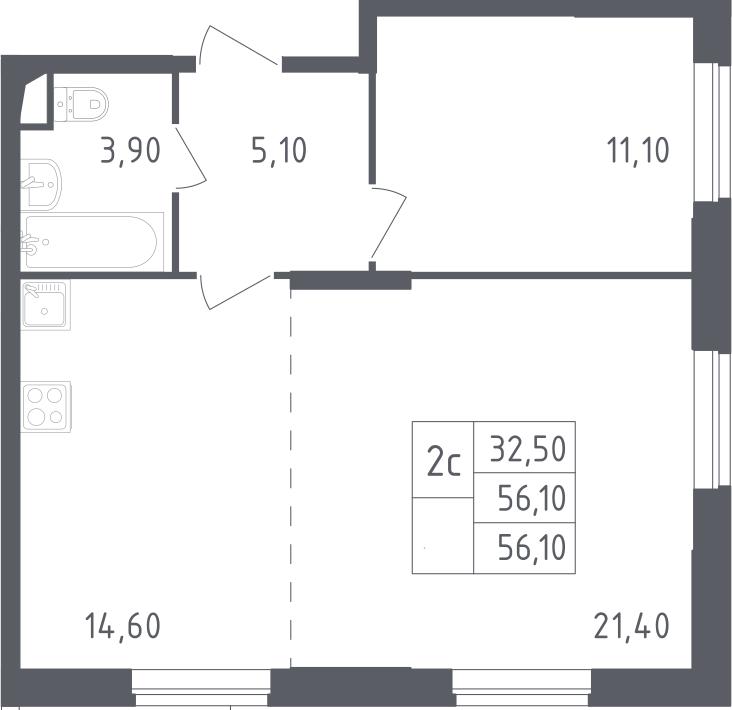 2Е-комнатная, 56.1 м²– 2