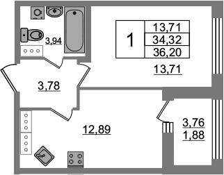 1-к.кв, 38.08 м²