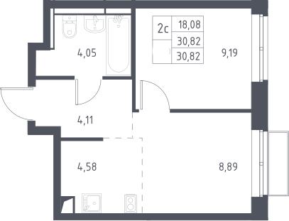 2Е-к.кв, 30.82 м², 2 этаж