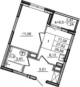 1-к.кв, 28.86 м²