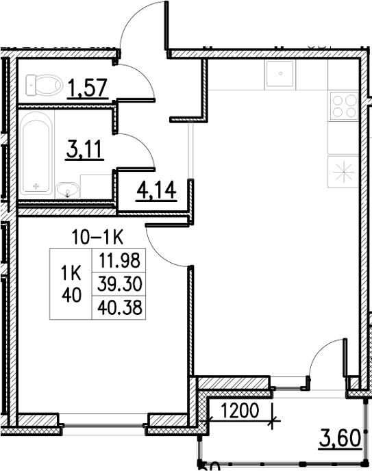 2Е-комнатная, 40.38 м²– 2
