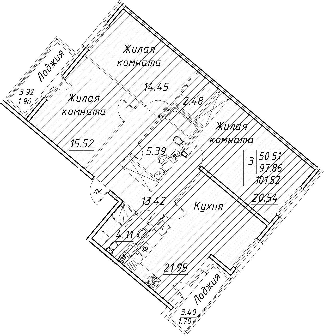 4Е-к.кв, 101.52 м², 11 этаж