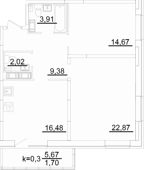 3-к.кв (евро), 75 м²
