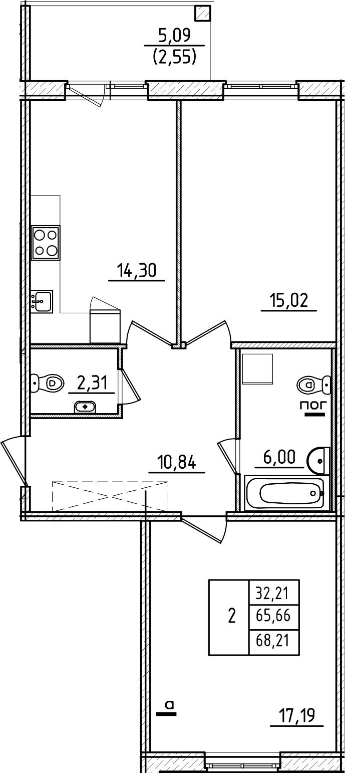 2-комнатная квартира, 68.21 м², 1 этаж – Планировка