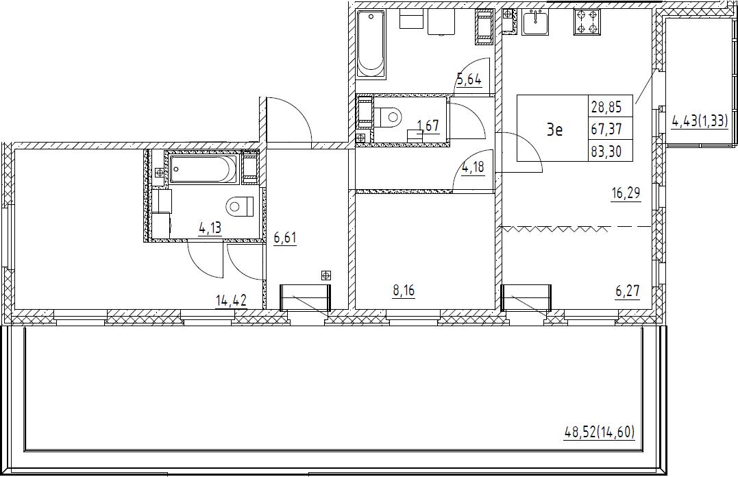 3Е-комнатная, 83.3 м²– 2