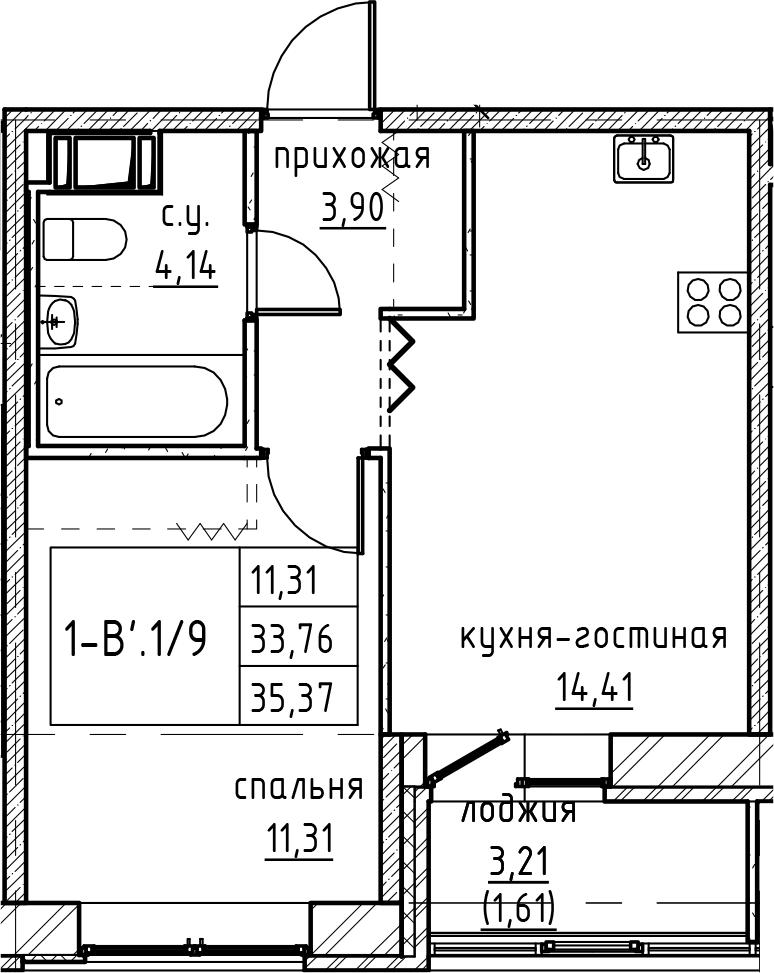 2Е-к.кв, 35.37 м², 9 этаж