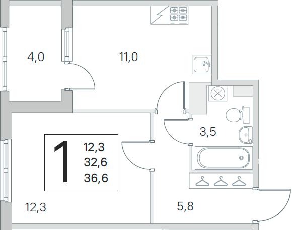 1-к.кв, 32.6 м², от 3 этажа