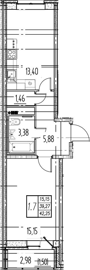 1-комнатная квартира, 39.27 м², 5 этаж – Планировка