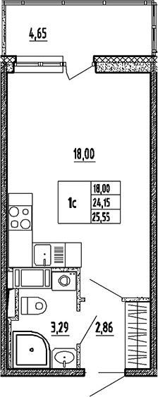 Студия, 24.15 м²– 2