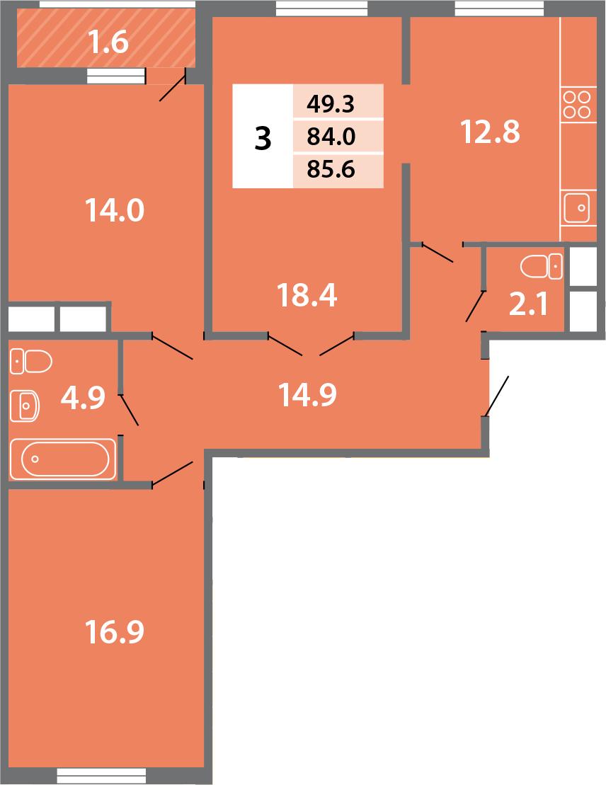 3-комнатная, 85.7 м²– 2
