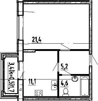 1-к.кв, 45.7 м²