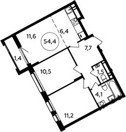 3Е-к.кв, 54.4 м², 15 этаж