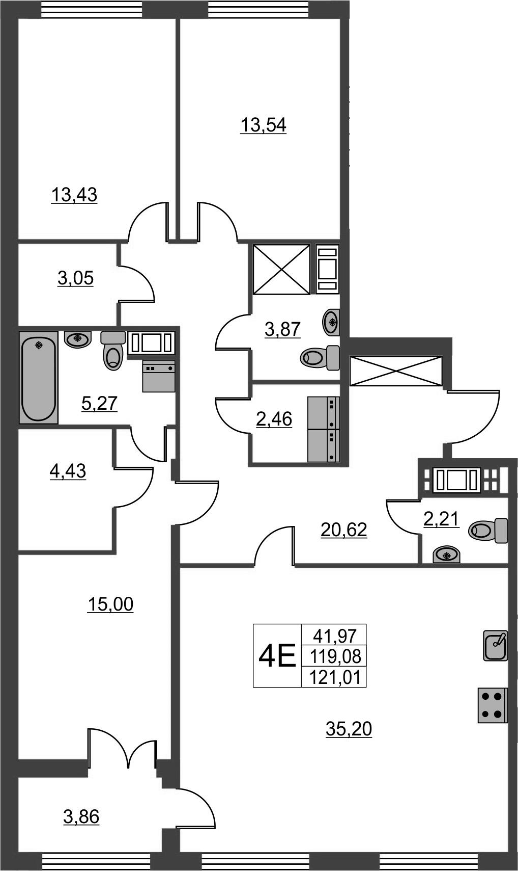4Е-к.кв, 119.08 м², от 3 этажа