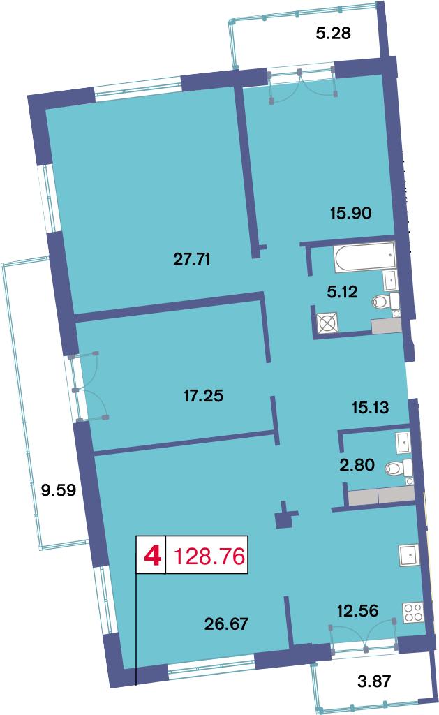 4-к.кв, 141.82 м²