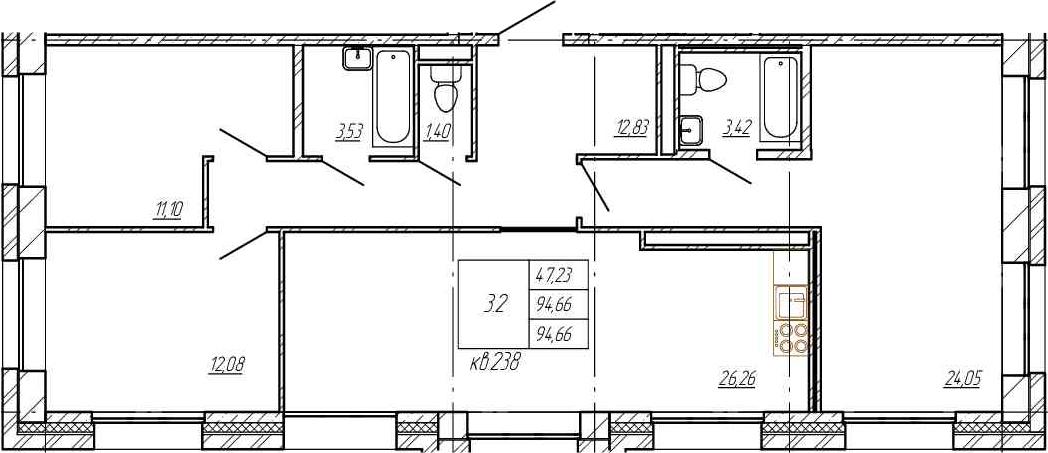 4Е-комнатная, 94.66 м²– 2
