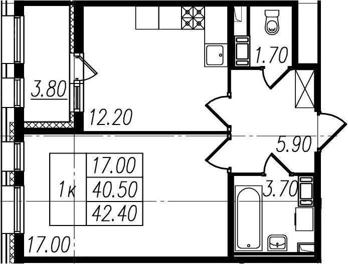 1-к.кв, 40.5 м², 8 этаж