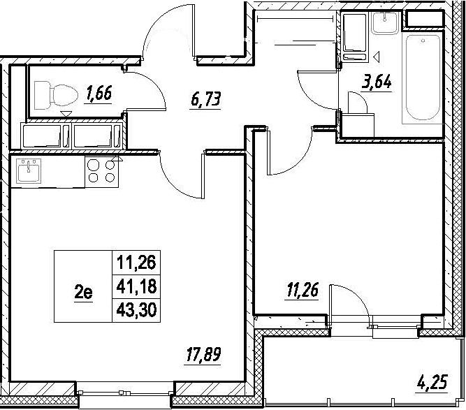2-к.кв (евро), 45.42 м²