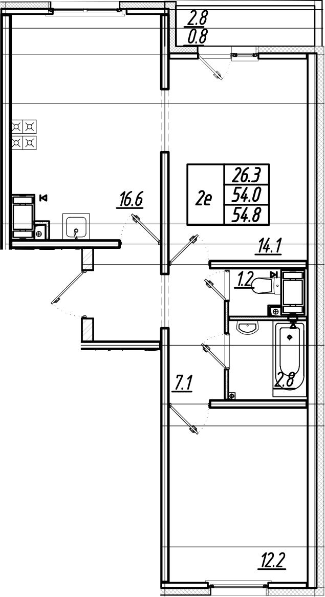 3Е-комнатная, 54.8 м²– 2