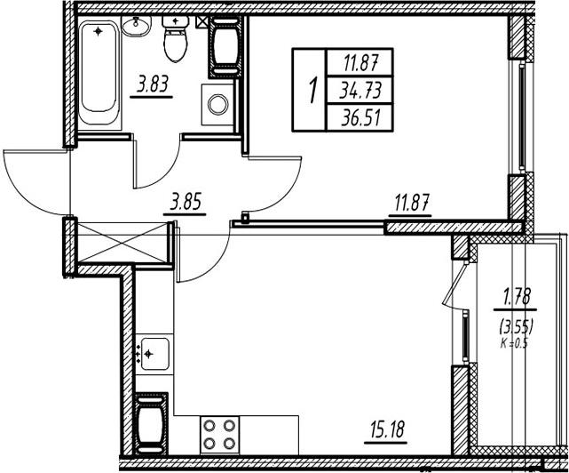 2-комнатная квартира (евро), 38.28 м², 7 этаж – Планировка