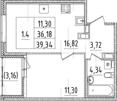 2Е-к.кв, 36.18 м²