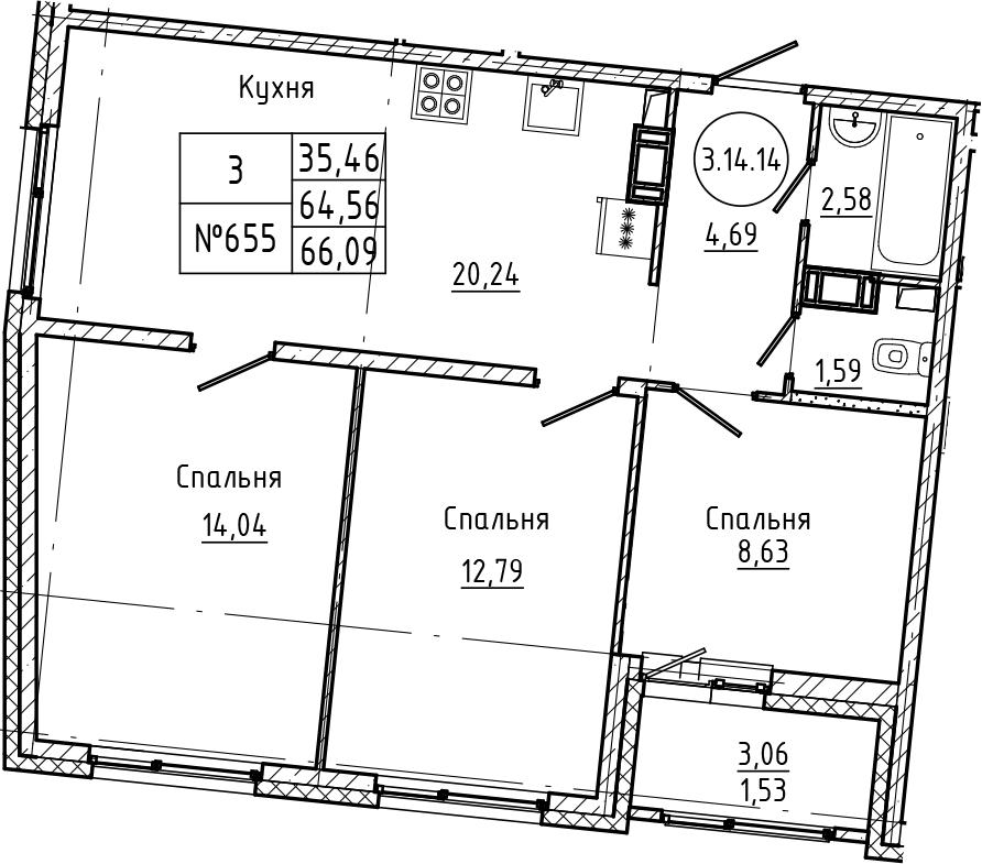 4Е-к.кв, 66.09 м², 14 этаж