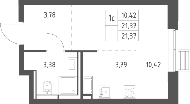 Студия, 21.37 м²– 2