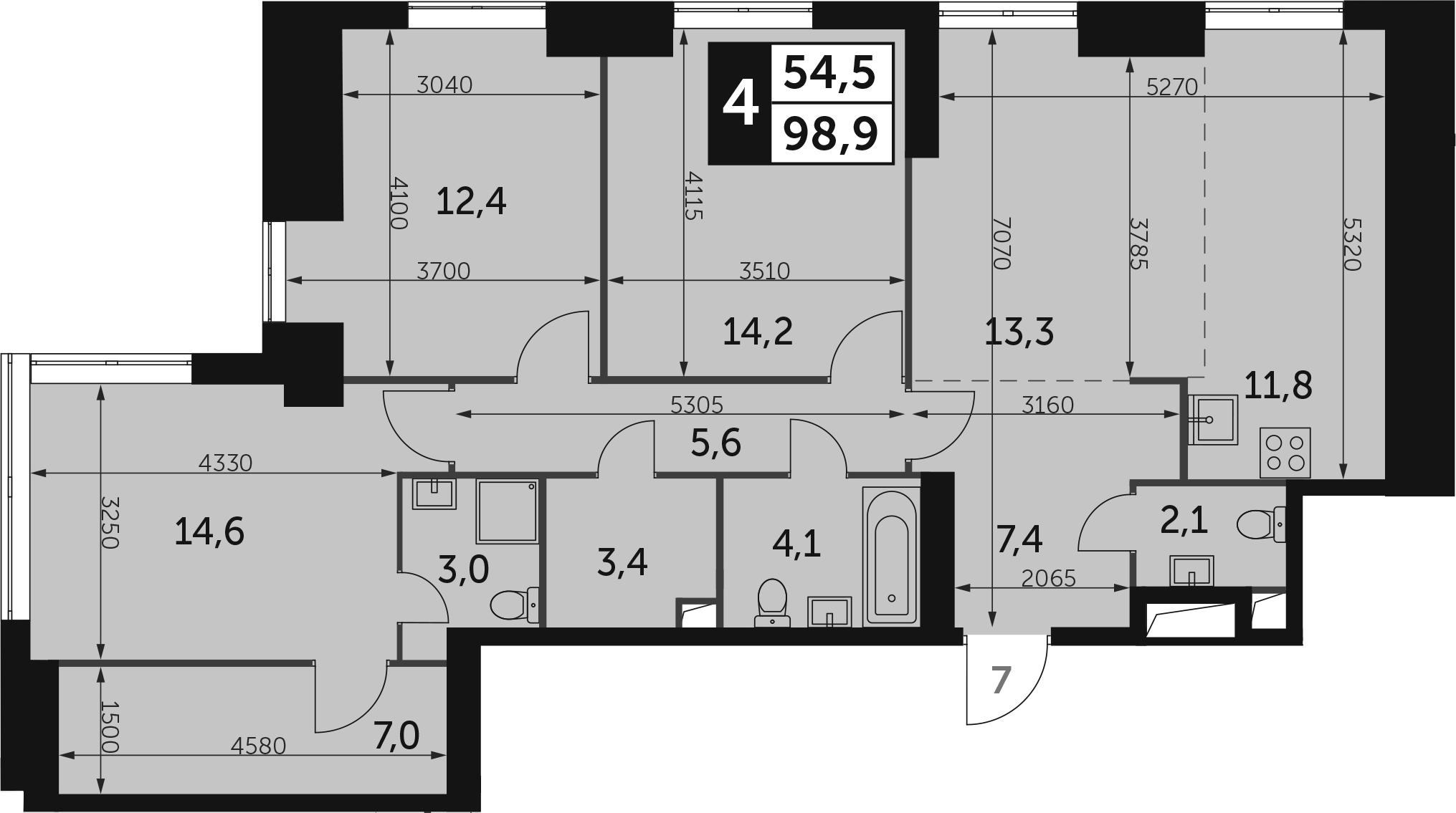 4-комнатная, 98.9 м²– 2