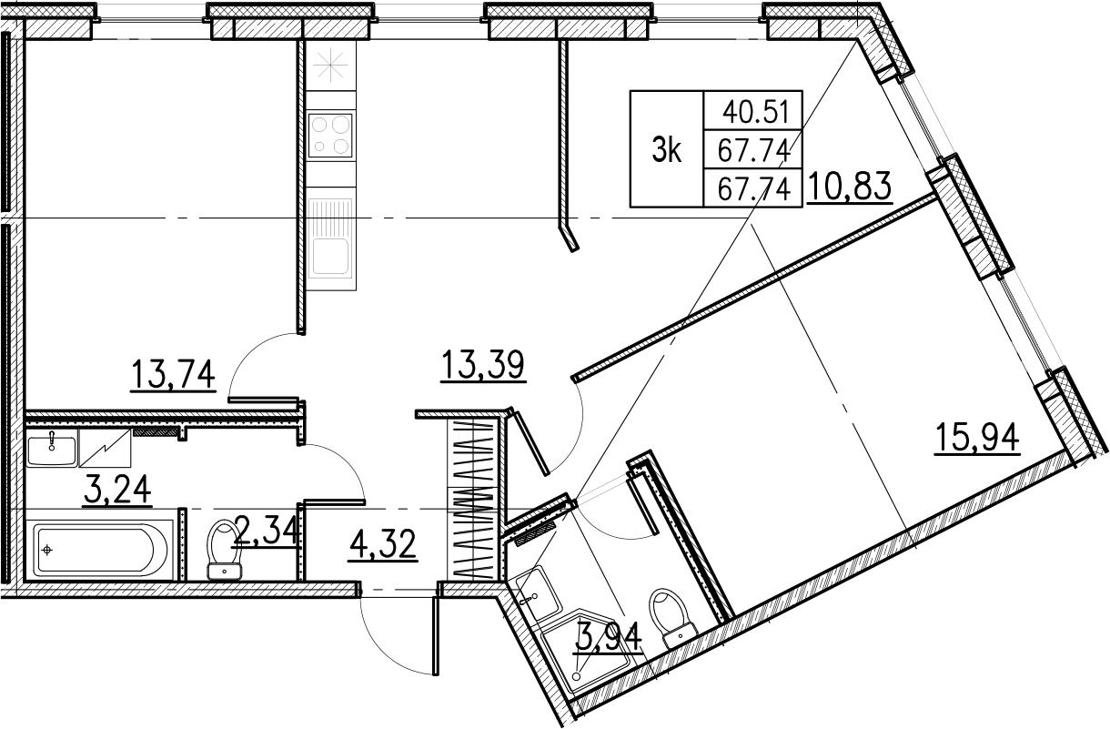 3-комнатная, 67.74 м²– 2