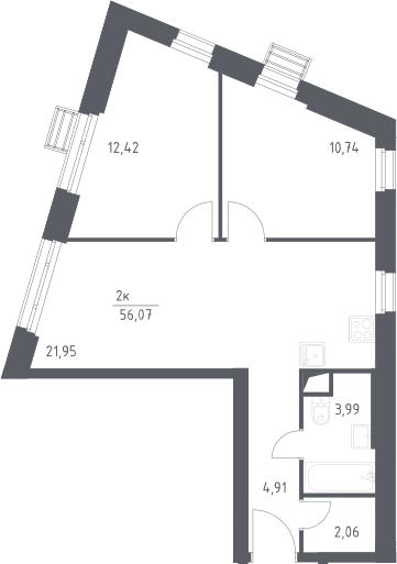 3-к.кв (евро), 56.07 м²
