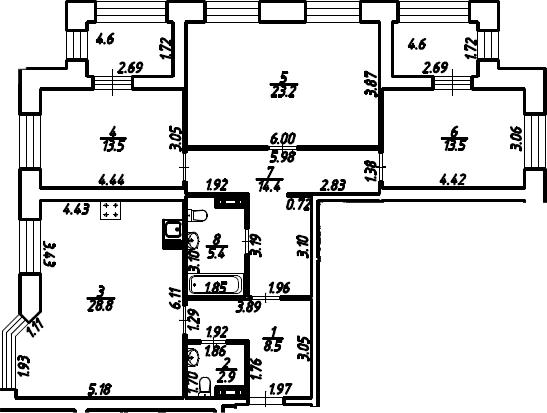 3-к.кв, 114.8 м²