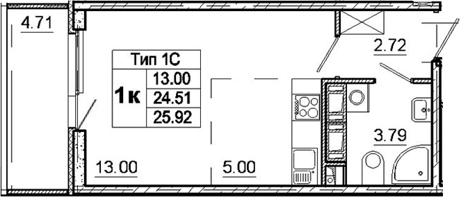Студия, 24.51 м²– 2