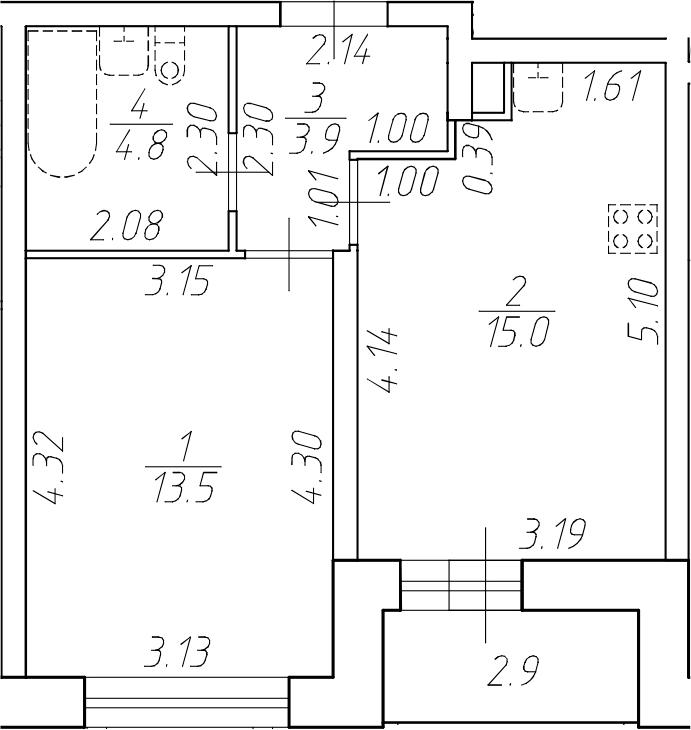 2Е-к.кв, 37.2 м²
