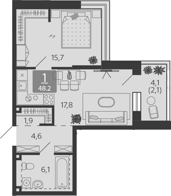 2Е-к.кв, 48.2 м², 13 этаж