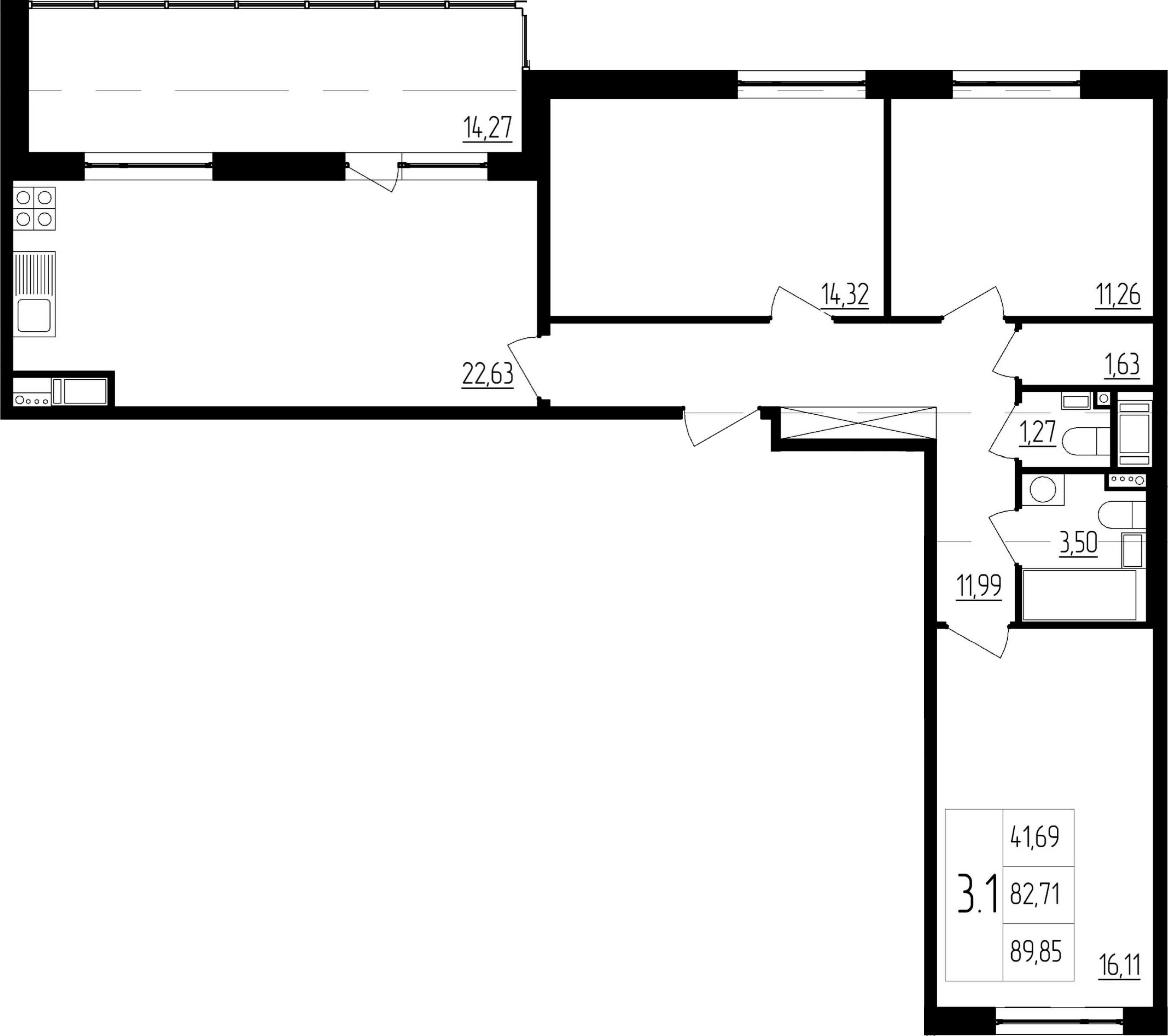 4-к.кв (евро), 96.98 м²