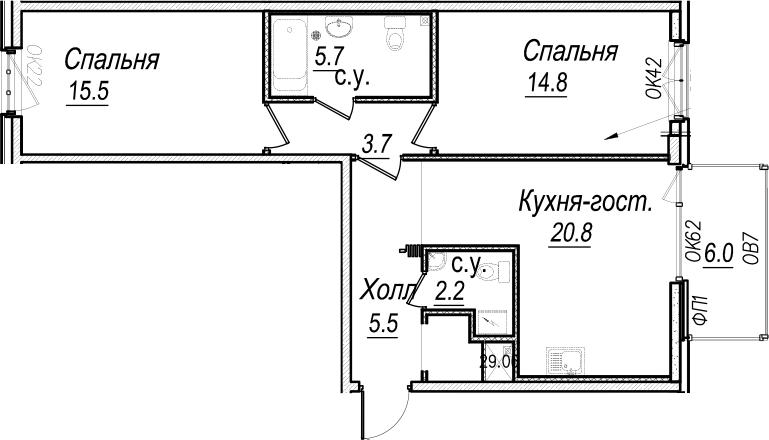 3Е-комнатная, 70 м²– 2