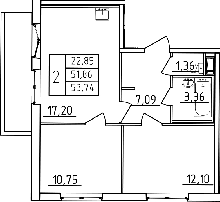 3-к.кв (евро), 58.13 м²