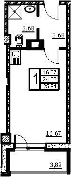 Студия, 27.85 м²