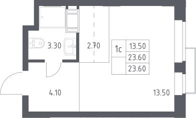 Студия, 23.6 м²