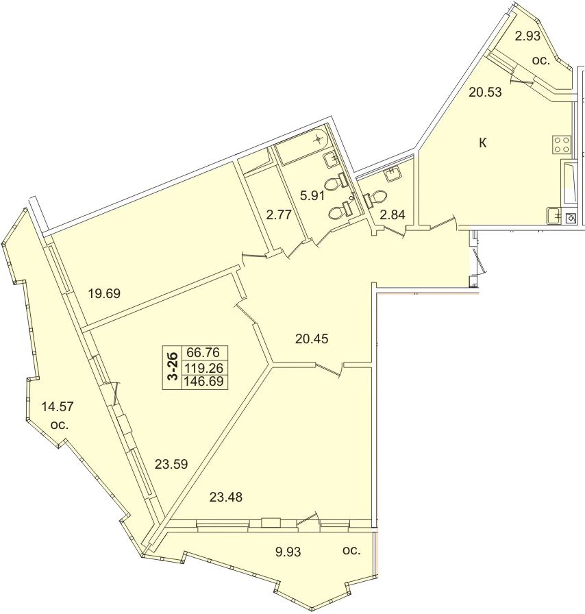 4Е-комнатная квартира, 127.5 м², 19 этаж – Планировка