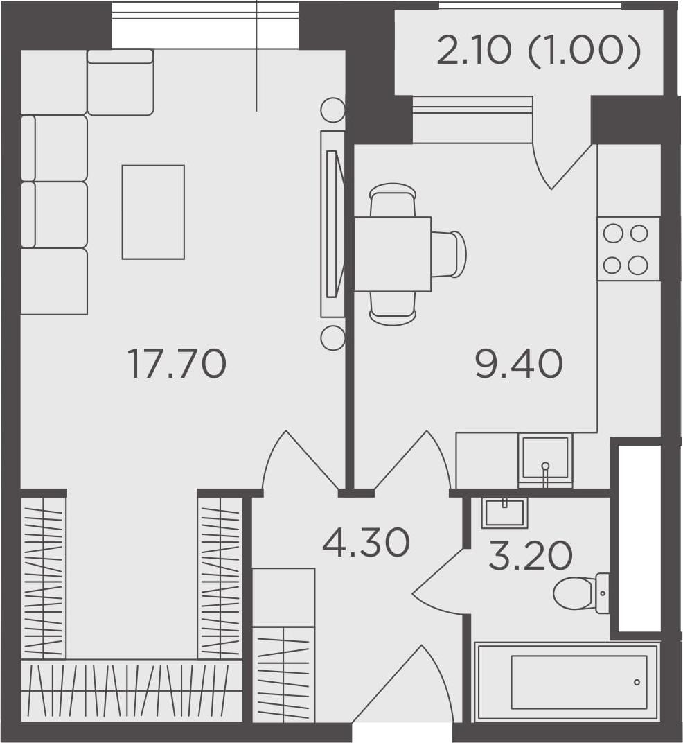 1-к.кв, 35.6 м², 9 этаж