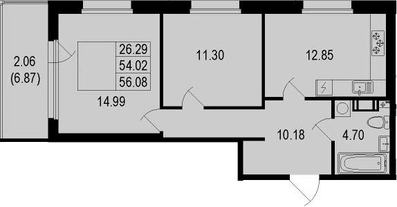 2-к.кв, 56.08 м²