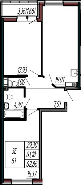 3-к.кв (евро), 64.54 м²