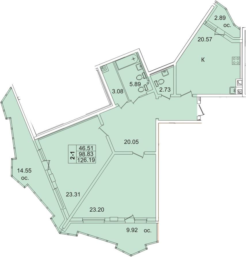 3-к.кв (евро), 126.34 м²