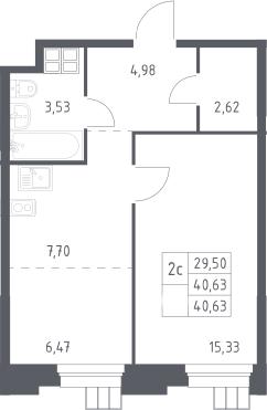 2Е-комнатная, 40.63 м²– 2