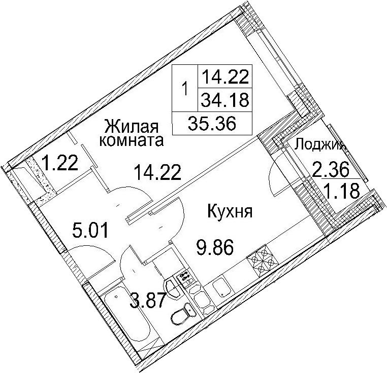 1-к.кв, 35.36 м²