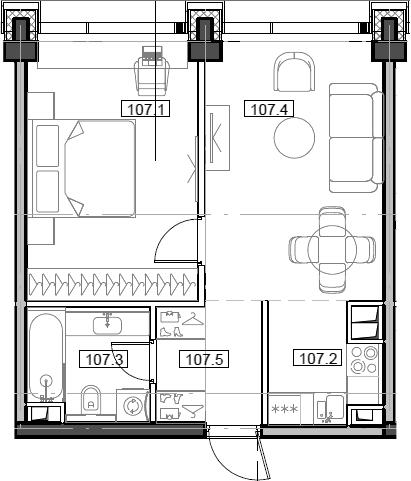 2Е-комнатная, 43.22 м²– 2