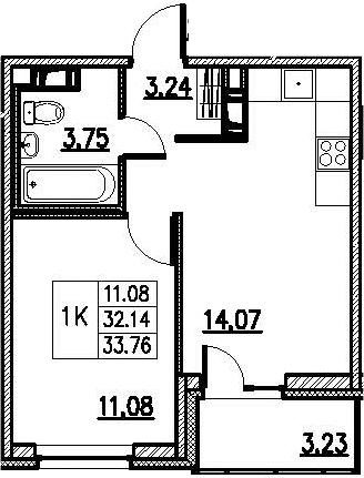 2-к.кв (евро), 35.38 м²